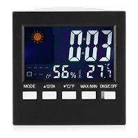 Настольный цифровой измеритель температуры и влажности будильник с индикацией погоды Чёрный