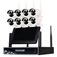 8-Канальный 720P беспроводной комплект NVR 7-дюймовый ЖК Wifi NVR 8 x 1.0MP Wifi IP-камера с ночным видением Конвертер путешествий ЕС