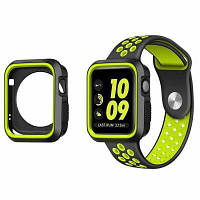 Ремешок для Apple Watch 42мм полный защитный резиновый чехол+спортивный силиконовый ремешок для Apple Watch серии 3 2 1 Жёлтый и чёрный