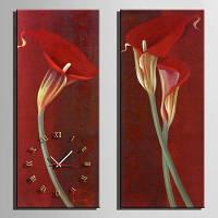 Э-элегантный цветок холст домашнего декора панно Настенные часы 2шт Цветной