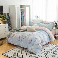 100% хлопок Шлифовка Реактивная краска Цветы Комплект постельных  принадлежностей Пастельно-синий 9330734843008