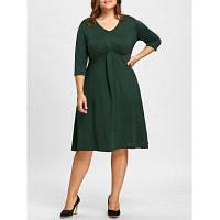 Большой Размер Платье С V-Образным Воротником До Колена 2XL