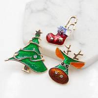 Рождественский Олень Звезда Обувной Дерево Брошь Набор Зелёный