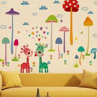 DSU мультфильм грибной лесной стены наклейки для детей номера Home Decor Art обои 50x70cм