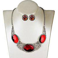 Овальный ожерелье искусственный драгоценный камень серьги набор Красный