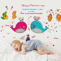 Детский сад Детская комната Спальня Гостиная Декоративные наклейки Обои Мультяшный Дельфин Рыба 60x90см