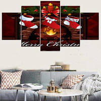 Рождественские каминные носки Pattern Split Wall Art наклейки 1штука :8*20,2 штуки :8*12,2 штуки :8*16 дюймов( бес канта )