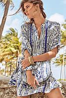 Пляжная женская туника с принтом David DB8-016 42(S) Голубой David DB8-016