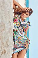 Пляжная туника из хлопка с коротким рукавом David DB8-010 42(S) Цветной
