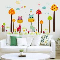 DSU Красочный мультфильм Жираф Дети Виниловые наклейки стены для детей Номера Украшение Цветной