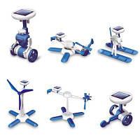Сборная Обучающая Игрушка Паззл 6-в-1 Для Детей На Солнечных Батареях Синий и белый