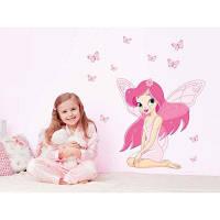 DSU Angel Girl Butterfly Стикер стены для украшения детской комнаты Разноцветный