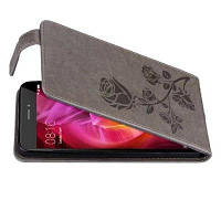 Вышитый розовым цветочным узором Вертикальный флип-кожаный чехол с гнездом для карты для Xiaomi Redmi Примечание 4 / Note4x High Серый