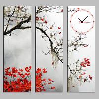 E-дома красные Кленовые листья холст фотообои Настенные часы 3шт Цветной