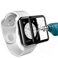 3D Изогнутый край закаленное стекло-экран протектор для Apple Watch серии 1 / 2 / 3 38мм Чёрный