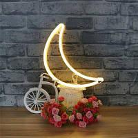 Новинка Moon Shaped Neon Night Light Светодиодная настенная подвеска для домашнего свадебного декора Тёпло-белый