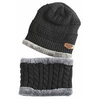 Наружная отделка этикеток Трикотажная шапочка и шарф Чёрный