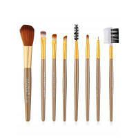 8шт Профессиональная пластиковая ручка для рисования кистей для глаз коричневый+золотистый