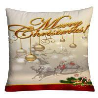 Рождественские салазки подвесные шарики Печать Декоративный наволочка W18 дюймов * L18 дюймов