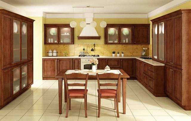 Кухонная мебель, кухня с деревянными фасадами Киев