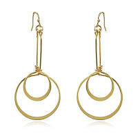 Женская мода Творческие двойные круги дизайн падение серьги позолоченные ювелирные изделия