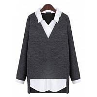 Осень Новый стиль Досуг Мода Поддельные две рубашки снизу