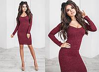 Облегающее платье с длинным рукавом и глубоким декольте / 5 цветов арт 4186-93