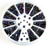 1 Box Glitter AB Черные акриловые стразы Украшения для ногтей Цветной