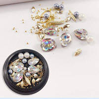 1 коробка декоративные большие цвета интриги Jewel Pearl аксессуары смешанный стиль украшения для ногтей 80PCS Многоцветный