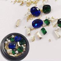 1 коробка декоративный сапфир синий большой Jewel Pearl аксессуары смешанный стиль украшения для ногтей 80PCS Цветной