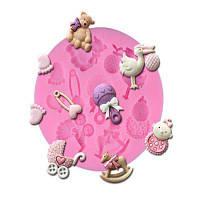 Мультфильм Стиль Силикон Fondant Шоколадный торт формы 4PCS Розовый