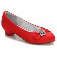 86192-5 Женская обувь атласная Весна Осень Комфорт Балерина Цветочная девушка обувь 30