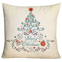 Рождественские элементы Дерево Печать Декоративный наволочка ширина17,5 дюймов * длина17,5 дюймов