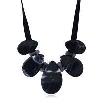 Винтажное Ожерелье Из Смолы Черный Серый