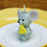 Свечи бездымного украшения с сыром-ели форма мыши Светло-серый