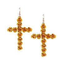 Мода Крест для женщин девочек Красный цветок Золото мотаться крест серьги Цвет маргаритки