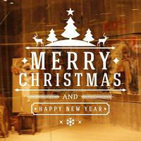 Merry Christams Tree Deer Виниловая наклейка для стены С Новым годом Xmas Quote Decals Home Decor 61 x 58 см