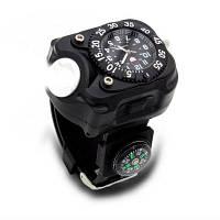 BRELONG Аккумуляторный светодиодный карманный фонарик наручные часы для открытого спорта Чёрный