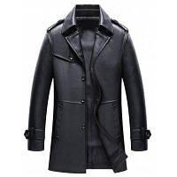 Мужские Осенние и зимние костюмы Воротник Кожа PU Длинные Бизнес Повседневный Мода Куртка XL
