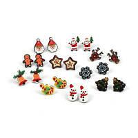Рождественские серьги Снежинка Санта-Женский комплект Combo Смазливая мультфильм Серьги 1 комплект