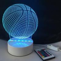 DSU 3D Визуальный светодиодный ночник с изменением цвета и ABS-пьедесталом в форме баскетбола 20 x 15 x 9cм