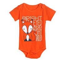 Детские комбинезоны для новорожденных малышей Fox Print Bodysuit с коротким рукавом Romper 90