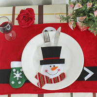 WS 0210 Санта-Клаус Снеговик Олень С Карманом Украшение Сервировки Рождественского Стола Для Вечеринки Снеговик