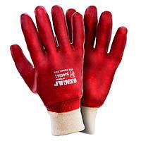 Перчатки трикотажные с полным ПВХ покрытием р10 (красные манжет) sigma 9444361