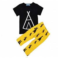 SOSOCOER Детская одежда для мальчиков Геометрическая футболка с рисунком Monster Yellow Pants Two Sets 90
