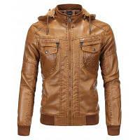Мужская одежда Кожаная куртка Бархатная теплая зимняя кожа с капюшоном из меха