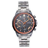 Longbo 80235 4691 Business Steel Band Водонепроницаемый Кварцевые часы для мужчин белый и оранжевый
