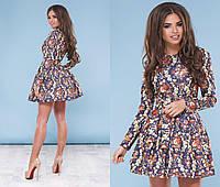 Короткое платье с пышной юбкой с  принтом, подъюбик фатин арт 4200-93