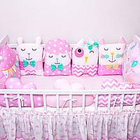 """Защита в кроватку. Бортики зверюшки на 3 стороны """"Розовый мир №3"""""""
