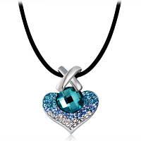 Женское крестик+Сердце образное ожерелье-серебро Синий